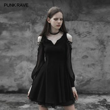 PUNK RAVE 2018 Women Dress Gothic Punk Strapless Corn Bandage Sexy Small V-collar Dress