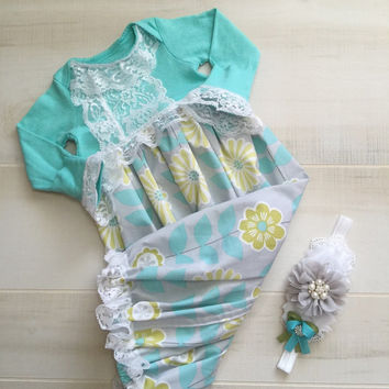 Floral Newborn Girl Take Home Outfit-Boutique Baby Girl Layette Gown-Baby  Girl Outfits 9c9b0f60d