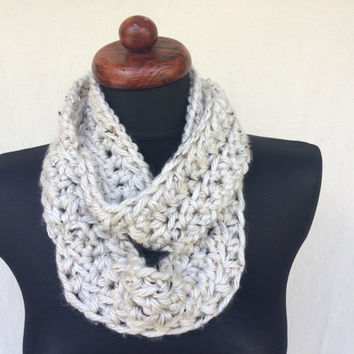 Hand Made Beige Silver Infiniti Scarf, Hand Crochet, Fall Scarf, Cream Scarf, White Cowl, Chunky Cowl, Cowl, Crochet Cowl