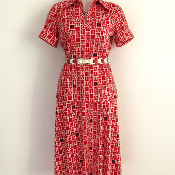 LANVIN!!! Vintage 1970s 'Lanvin' three piece outfit with allover logo print in red, white and blue / Made in USA