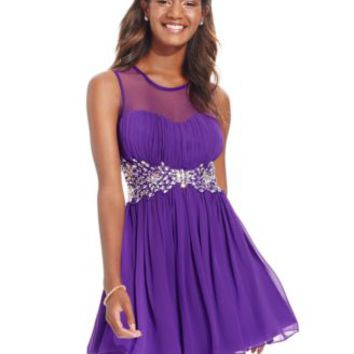 B Darlin Juniors' Illusion Jeweled-Waist Party Dress | macys.com