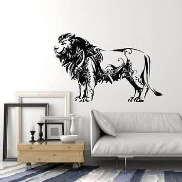 Vinyl Wall Decal Floral Lion Wild Animal Tribal Predator Zoo Stickers Mural (g2713)