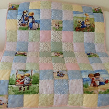 Minky Childhood Memories By The Seaside Beach Childrens Handmade Lap Quilt 40 x 48 inches Free Shipping Canada and USA