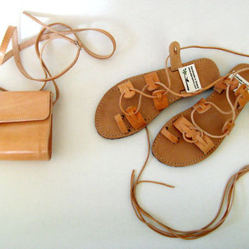 FREE SHIPPING , Greek leather sandals and bag,  womens gladiator sandals and bag from Genuine Leather! Beach, Bridal, Bridesmaid, boho,