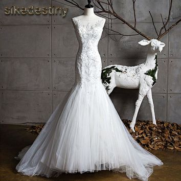 Sikedestiny 2018 High Quality New Fashion Lace Beaded Appliques Mermaid Wedding Dresses O Neck Tulle Long Bridal Wedding Gowns