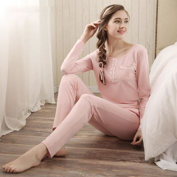 2016 The Western fashion women's pajama set long sleeve o-neck design vogue girls nightwear Women's Sleep & Lounge clothing set