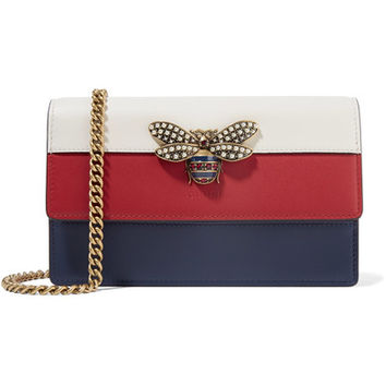 Gucci - Queen Margaret embellished leather shoulder bag