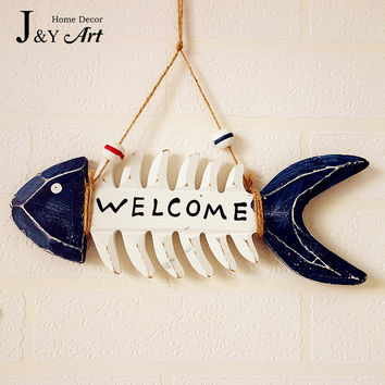 Welcome Wood Plaque mediterranean style with fishbone wall wood Art Home Decorations