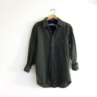 vintage army green wool Pendleton boyfriend shirt. button down flannel shirt. oversized shirt with elbow patches.