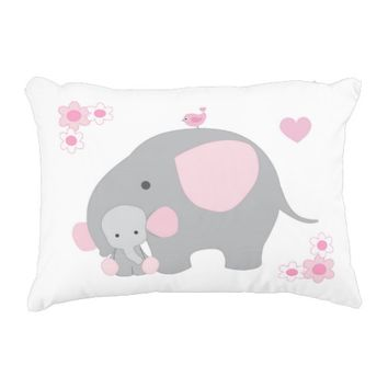 Birth Stats Baby Girl Elephant Pink Grey Gray Accent Pillow
