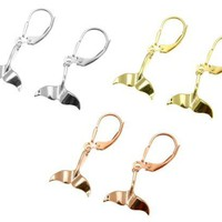 YELLOW ROSE GOLD PLATED RHODIUM SILVER 925 HAWAIIAN WHALE TAIL LEVERBACK EARRING