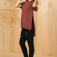 Boyfriend Box Slit Side T-Shirt (Rusk)- FINAL SALE