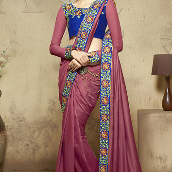 Deep Pink and Blue Party Wear Saree