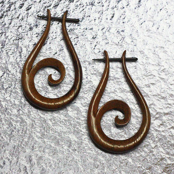 Wooden Post Earrings - Flax Hoops