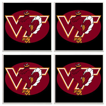 Virginia Tech Hokies Coasters, Virginia Tech decor,  Virginia Tech Football, Sports Coasters, College football, Dorm room decor, Hokies, VA