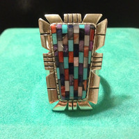NEW Vintage Size 8.5 RELIOS Inlay Ring Turquoise Coral Charoite MOP Pearl Onyx Sterling Silver 925 Huge Carolyn Pollack Sincerely Southwest