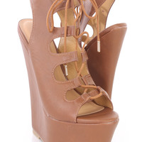 Tan Lace Up Peep Toe Floral Print Sexy Wedges Faux Leather