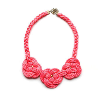 Coral knot bib necklace, triple knot, tangerine, nylon cord, rope jewelry, nautical style, spring summer trends, gift for her, present