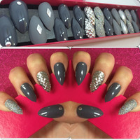Hand Painted Full Cover False Nails. Stiletto Armoured Grey Nails. 24 Nail Set.