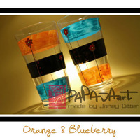 Orange & Blueberry - Original Hand Painted Glasses, SET OF 2