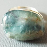 Fluorite Ring - Chunky Ring - Wire Wrapped Ring - Large Ring - Unique Ring - Green Stone Ring - Unusual Ring - Silver Wire Ring - Homemade