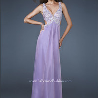 Sleeveless Beaded Waist Cut Outs Formal Prom Dress By La Femme 18651
