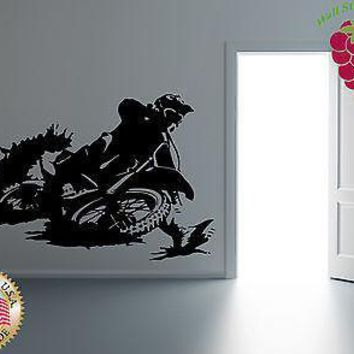 Wall Stickers Vinyl Decal  Motorcycle Racing Cross Dirt Bike Extreme  Unique Gift EM416