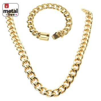 """Jewelry Kay style Men's 15mm Heavy Stainless Steel Cuban Chain 24"""" Necklace with 9"""" Bracelet SET"""