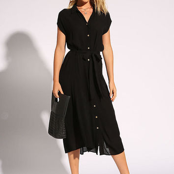 Black Waist Tie Button Down Slit Midi Dress
