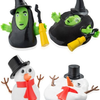 Melting Snowman and Witch: Moldable clay figures that melt again and again.