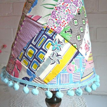 Patchwork Lamp Shade - Patchwork Lamp Shade - Cottage Lampshade - Vintage Patchwork - Childs Lampshade