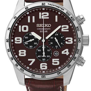 Seiko Mens Solar Chronograph - Brown Dial - Brown Leather Strap