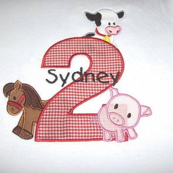 Farm Animals Custom made appliqued, monogrammed, embroidered, Birthday/Animal tee shirts or one piece w/snaps, boys, girls, toddlers