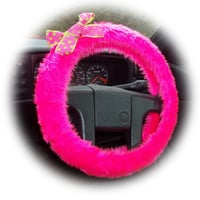 Barbie Pink steering wheel cover faux furry fur fluffy fuzzy car with spotty pink & lime green polka dot Bow cerise cute girly girl
