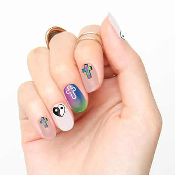 Cross & Ying Yang Heart Nail Art