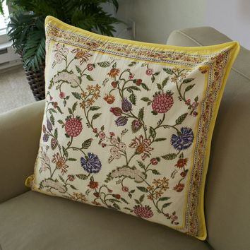 Hand Block Printed Cushion Cover by Anokhi - Saffron India