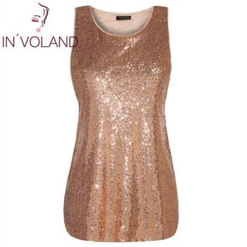 IN'VOLAND Women T-Shirts Tops Plus Size XL-5XL Basic O-Neck Sleeveless Sequin Party Large Pullovers Tshirt Tees Tank Oversized