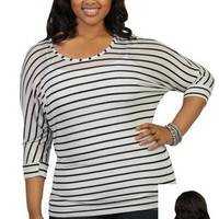 plus size striped dolman top with crochet back and banded bottom - debshops.com