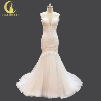 Rhine Real Picture New Arrival V Neck Lace Appliques Pearls Mermaid Nude Open Back Fashion Bridal Wedding Dresses Wdding gown