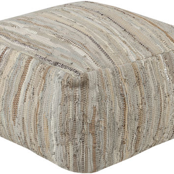 Anthracite Leather Modern Pouf - Home Accents | Surya