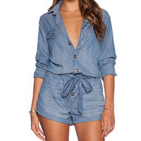 Free People Drapey Romper in Blue