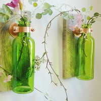Colored Bottle Pair each mounted on Recycled wood for unique rustic wall decor bedroom decor kitchen decor