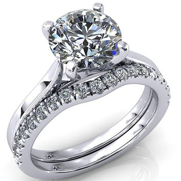 Darci Round Moissanite 4 Prong Cathedral Solitaire Engagement Ring