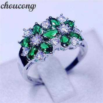 choucong Flower Jewelry Women 925 sterling Silver ring Green stone 5A Zircon Cz Engagement Wedding Band Rings For Women
