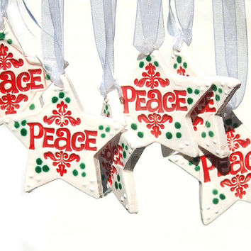 6 Ornament  with Imprinted PEACE / Christmas Gift Ornament