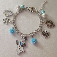 Disney Frozen Olaf, Anna and Elsa Charm Bracelet