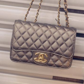 """Chanel""Fashion small incense Ling Ling grid chain package shoulder Messenger bag small bag Silver"