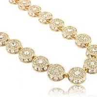 """Fully Iced Out 15mm Gold Cluster Chain in 30"""" & 36"""" Length"""
