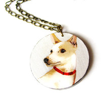 Made to Order Custom Dog Necklace  - Miniature Pinscher Jewelry - Wooden Dog Pendant Hand Painted Jewelry - Custom Doggie Necklace