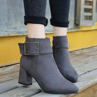 On Sale Hot Deal Winter Matte Dr. Martens Thick Crust Round-toe High Heel Boots [11882771407]